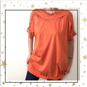 Roaman's Orange Short sleeve tunic women's top (C2